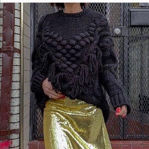Zara Fringe Pom Pom sweater